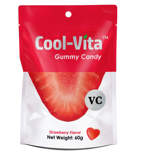 Yummy Fruit Gummy Vitamins Funny Strawberry Designed Heart Shaped Small 60g Per Bag